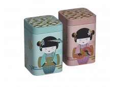 Vierkant blikje  voor losse thee 'Little Geisha'