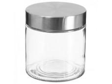 Glazen bokaal met roestvrijstalen deksel